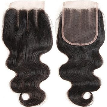 VRHOT 10 inch 3 Part Lace Closure Body Wave 4x4'' Three Part Lace Closure Brazilian Virgin Human Hair 100% Unprocessed Natural Color Soft Silky Hair Products for Black Women 8''-20''