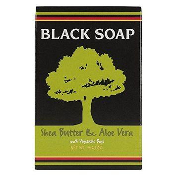 Sunaroma Soap Black Shea Butter & Aloe Bar 4.25 Ounce Boxed (125ml) (6 Pack)
