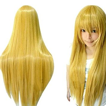 Creazy® 80CM Long Straight Cosplay Wig Multicolor Heat Resistant Full Wigs (Yellow)