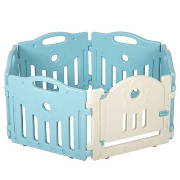 Baby Playpen 6 Panel Playard Kids PlaySafe Activity Center W/Locked Door