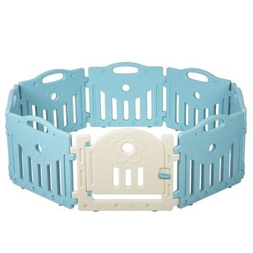 Baby Playpen 8 Panel Playard Kids PlaySafe Activity Center W/Locked Door