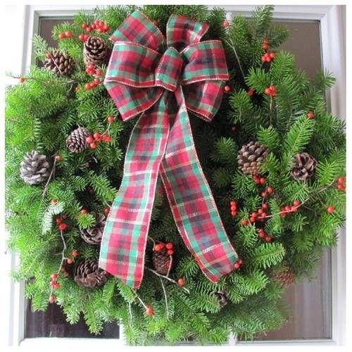 Eziba Fresh Balsam Winterberry Tartan Bow 24-inch Wreath