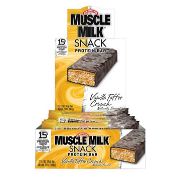 CytoSport Muscle Milk Snack Protein Bars, Vanilla Toffee Crunch, 12 ea