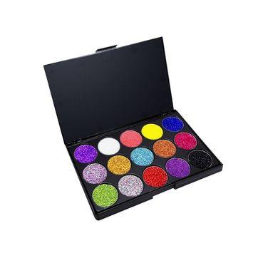 Allwon Glitter Eyeshadow Pressed Glitter Makeup Palette Pigmented Shimmer Rainbow Bold Glitters Eye Shadows,15 Colors