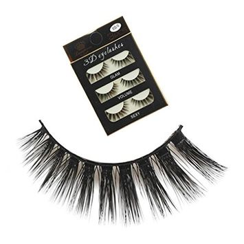 3D Eyelashes,Voberry 3 Pairs Long Cross False Eyelashes Makeup Natural Thick Long Cross Party False Eyelashes Black Band Fake Eye Lashes