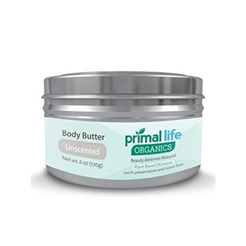 Body Butter BEST - Fast, Effective Hydrating Butter for dry, rough skin - 100% Natural, Organic, Gluten-free - Soothes, heals, moisturizes, repairs - 6 oz. Unscented - Primal Life Organics