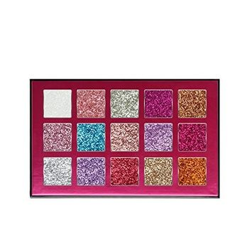 Allwon Glitter Eyeshadow Pressed Glitter Makeup Palette Highly Pigmented Shimmer Glitters Eye Shadows,15 Colors