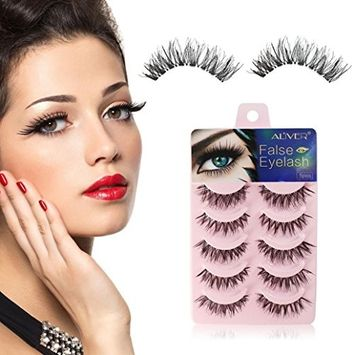 Eyelashes,Voberry 5 Pairs Thick Long Cross Party False Eyelashes Black Band Fake Eye Lashes