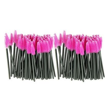 Voberry® Disposable One-Off Synthetic Fiber Eyelash Mascara Make Up Applicator Wand Brush,Pink,100pcs/set