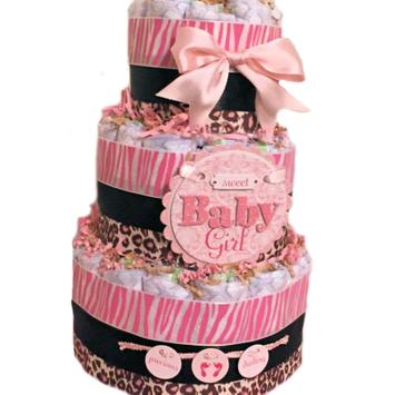 Kutie Patooties Diaper Cakes & More Pink & Brown Cheetah Theme Baby Girl 3 Tier Diaper Cake