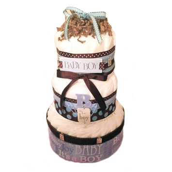 Kutie Patooties Diaper Cakes & More Blue & Brown Baby Boy 3 Tier Diaper Cake