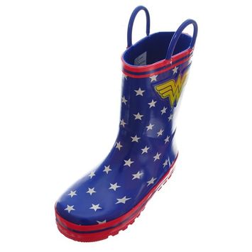 Wonder Woman - Wonder Woman Girls' Rubber Rain Boots (Sizes 7 - 12) - royal blue, 7 toddler [name: size value: size-7toddler]