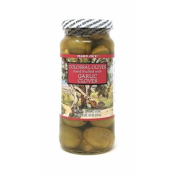 Trader Joe's Colossal Olives Hand Stuffed with Garlic Cloves NET 16 FL OZ
