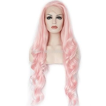 Loose Wave Synthetic Lace Front Wigs Pink Color Natural Looking with Natural Hairline Heat Resistant 26Inch