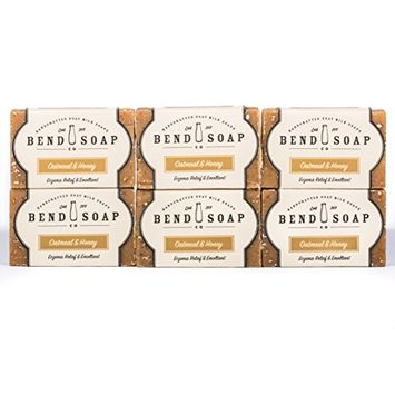 Bend Soap Company All Natural Goat Milk Soap - Paraben and GMO Free - Handmade in USA - Soothe Cracked Skin, Relax and Exfoliate - Overall Dry Skin Relief (Oatmeal Honey, 6 Pack of 4.5oz Bars)…