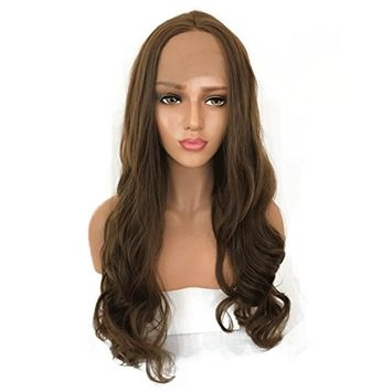 Body Wave 24Inch Long Brown Color Wig Synthetic Lace Front Wig With Baby Hair Glueless High Temperature Fiber Hair Wigs For Women