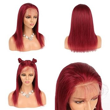 Modernfairy Hair Pre-Plucked Long Straight 99J Human Hair Red Wine Wig Glueless Full Lace Wigs with Baby Hair for Women 18Inch
