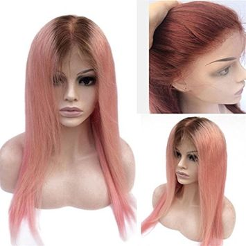 Modernfairy Hair Ombre Pink Color Full Lace Human Hair Wig with Baby Hair Pre-Plucked Hairline Remy Hair Brazilian Straight Hair Wig 18Inch
