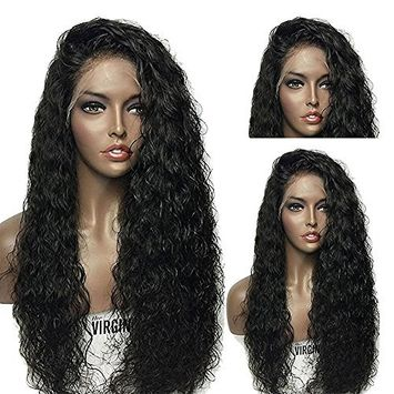 Modernfairy Hair 180 Density Long Water Wave Synthetic Lace Front Wigs Black Color Hair for Black Women 24Inch