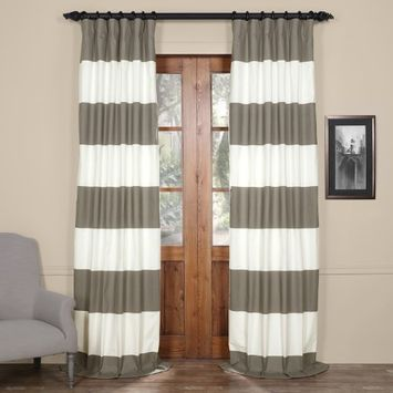Exclusive Fabrics & Furnishings Slate Gray & Off-White Horizontal Stripe Cotton Curtain, 50