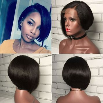 Modernfairy Hair 150% Density Lace Front Wigs Human Hair Pixie Cut Wig Yaki Straight Human Hair Lace Front Wigs Pre Plucked with Baby Hair Short Bob Wigs for Black Women 6inch