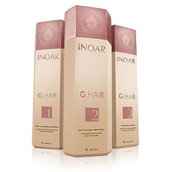 INOAR PROFESSIONAL - G-Hair Keratin Smoothing Shampoo & Conditioner - The Perfect Combination to Hydrate, Smooth & Straighten Your Hair Without Damaging Its Texture (33.8 Ounces /1000 Milliliters)