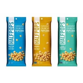 Halfpops Gluten Free Non-GMO Curiously Crunchy Popcorn 3 Flavor Variety Bundle, (1) Each: Butter Sea Salt, Caramel Sea Salt, and Black Truffle Sea Salt, 4.5 Ounces