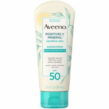 3 Pack - Aveeno Positively Mineral Sensitive Skin Daily Sunscreen Lotion with SPF 50 Sheer Sunscreen for Face & Body, TS