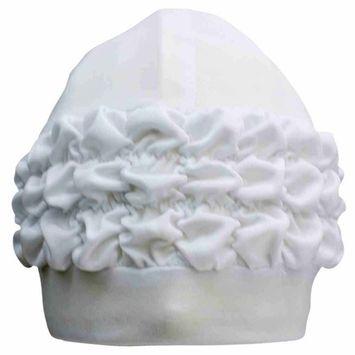 Swim Bathing Turban Cap With Ruffled Trim