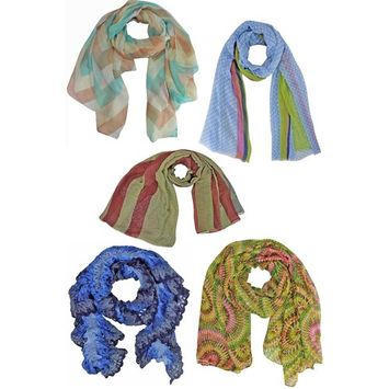 Fashionable Print Scarf Collection 5-Pack Bundle Lot