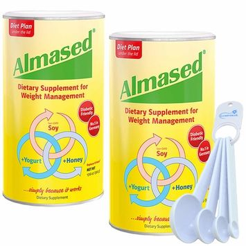 Almased Multi Protein Powder Meal Replacement Shake for Weight Management 17.6 oz (2 Pack) Bundle with Lumintrail Measuring Spoon Set