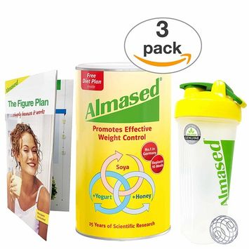 Almased - Meal Replacement Shake - Plant Based Powder for Weight Loss - Shake for Weight Management (3 pack +Blender Bottle Shaker and Diet Recipe Book)