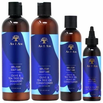 As I Am Dry & Itchy Scalp Care Olive & Tea Tree Oil Shampoo + Conditioner 12oz + Leave-In 8oz + Oil Treatment 4oz