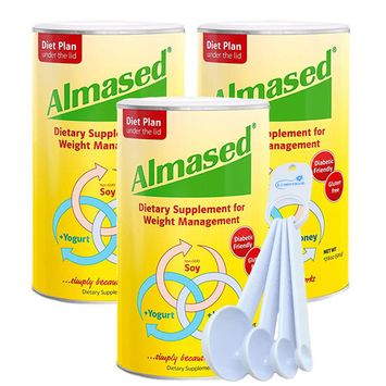 Almased Diet Protein Powder 3 Pack with Measure Spoon Set
