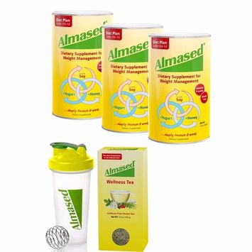 Almased® Meal Replacement Shakes -Soy Protein Powder for Weight Loss - Shake for Meal Replacement - Gluten Free, No Sugar Added (3 Pack + Free Shaker Bottle+ Almased® Wellness Tea)