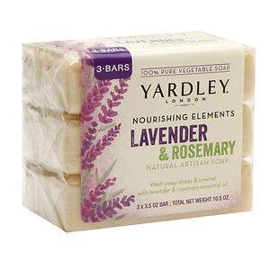 Yardley of London Nourishing Elements Natural Artisan Bar Soap, Lavender Rosemary, 3 ea