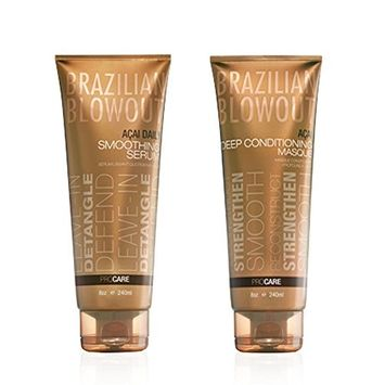 Brazilian Blowout Daily Smoothing Serum, 8 Oz & Acai Deep Conditioning Masque, 8 Ounce ( As Pictured )