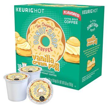 The Original Donut Shop Coffee Vanilla Cream Puff Medium Roast Coffee K-Cups 18 ct