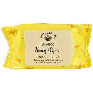 Savannah Bee Company Inc Bamboo Honey Wipes Tupelo Honey 30 Towelettes