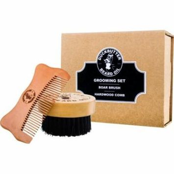 DUCKBUTTER Grooming Set - Beard Brush & Comb Boxed Gift Set - Made from 100% Genuine Peach Wood & Natural Boar Bristles - 1