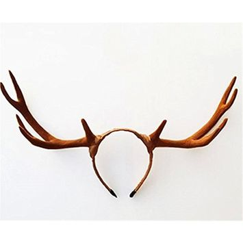 Christmas Halloween Big Antlers Brown Deer Horns Hair Band Headband Goth Cosplay Accessories Headdress