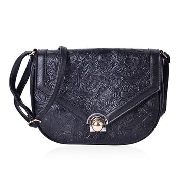 Black Floral Embossed Faux Leather Half Moon Saddle Bag with Unique Closure