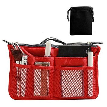 SODIAL(R) Nylon Handbag Insert Comestic Gadget Purse (RED)
