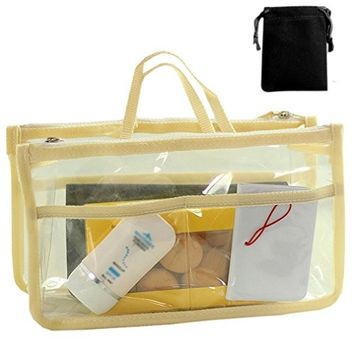 SODIAL(R) Transparent Bag in Bag Insert Comestic Gadget Purse (BEIGE)