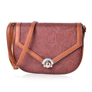 Brown Floral Embossed Faux Leather Half Moon Saddle Bag with Unique Closure