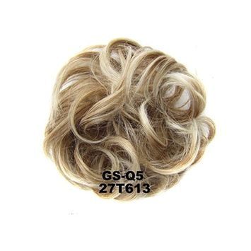 Lady Fashion Wavy Curly or Messy Dish Hair Bun Easy Stretch Extension Hairpiece Scrunchie Chignon Tray Heat Resistant Short Ponytail (Beige/Blonde Mixed)