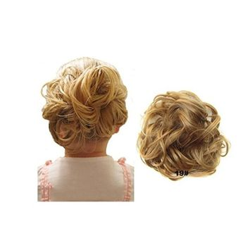 Lady Fashion Wavy Curly or Messy Dish Hair Bun Easy Stretch Extension Hairpiece Scrunchie Chignon Tray Heat Resistant Short Ponytail (Beige/Blonde Mixed) (#7)