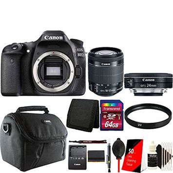 Teds Canon EOS 80D 24.2MP DSLR Camera + 18-55mm + 24mm 2.8 STM Lens + Accessory Kit