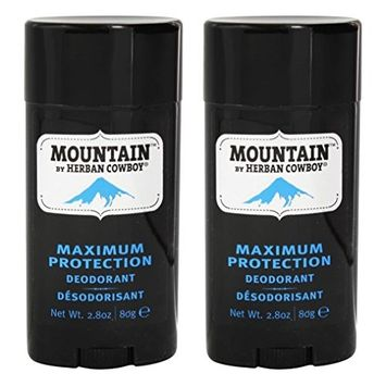 Herban Cowboy Natural Grooming Maximum Protection Deodorant, Mountain Scent (Pack of 2) with Aloe Vera, Rice, Rosemary and Sage, Organic and 100% Vegan, Paraben and Aluminum Free, 2.8 oz each
