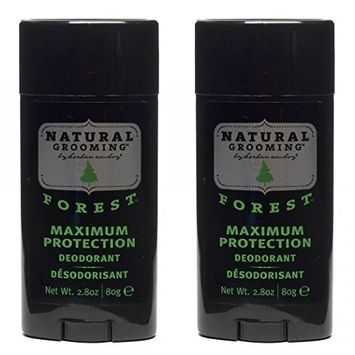 Herban Cowboy Natural Grooming Maximum Protection Deodorant, Forest Scent (Pack of 2) with Aloe Vera, Rice, Rosemary, Parsley and Sage, Organic and 100% Vegan, Paraben and Aluminum Free, 2.8 oz each